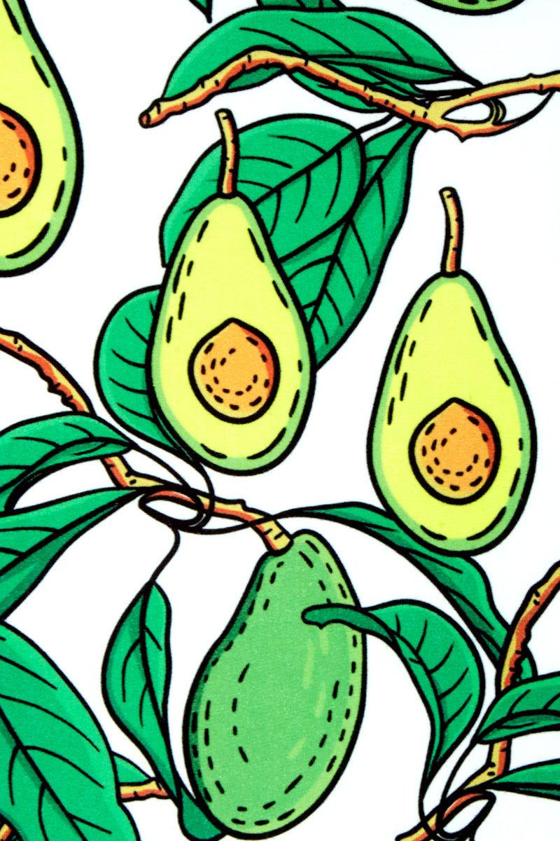 CANDY SWIMWEAR Vegetables High Waisted Bikini Bottom - Green Avocado Print Bikini Bottom | Green Avocado Print| Candy Swimwear Vegetables High Waisted Bikini Bottom - Green Avocado Print High Waisted Cheeky Coverage Avocado Print Front View