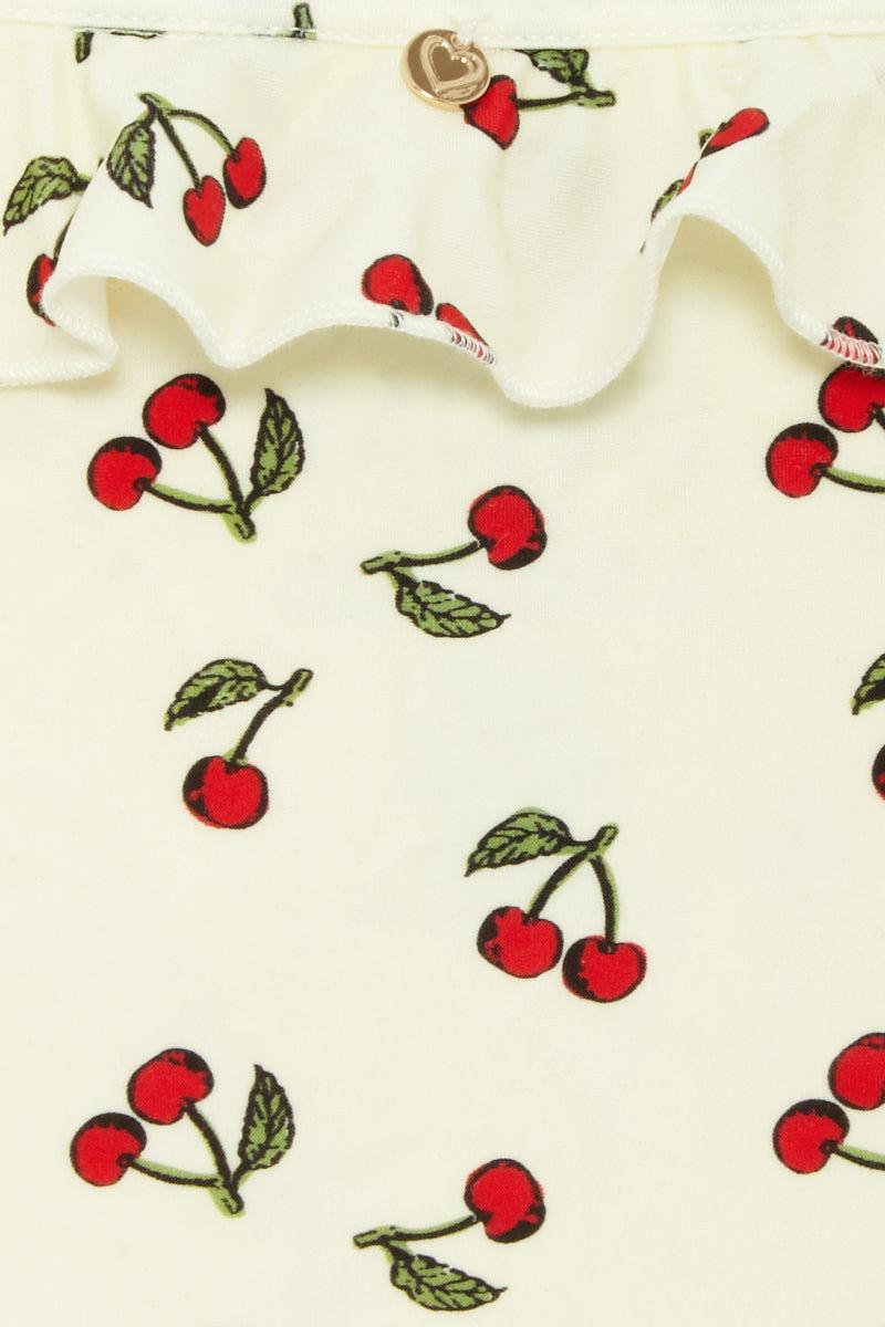 FOR LOVE AND LEMONS Mon Cheri Tie Side Bikini Bottom - Ivory Cherry Print Bikini Bottom | Ivory Cherry Print| For Love and Lemons Mon Cheri Tie Side Bikini Bottom - Ivory Cherry Print