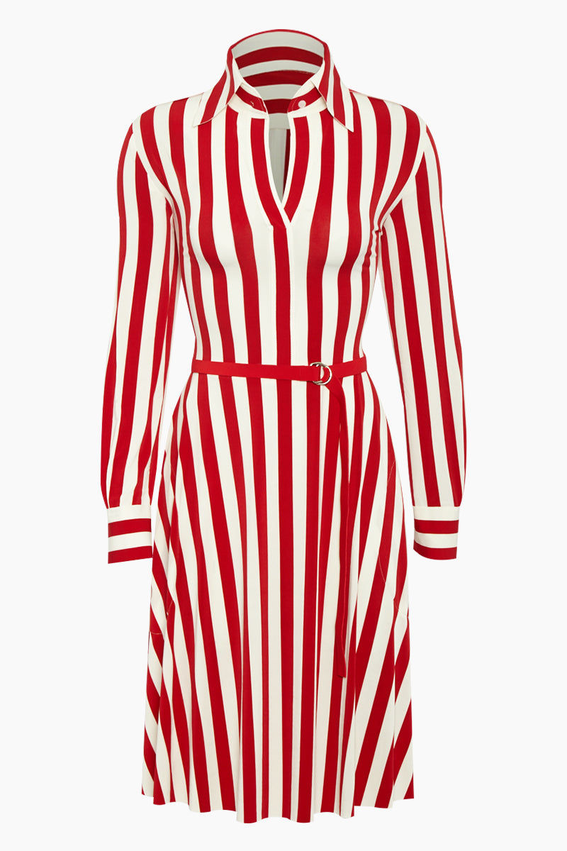 NORMA KAMALI Shirt Collared Midi Dress - Tango Red 3/4 Stripe Print Dress | Tango Red 3/4 Stripe Print| Norma Kamali Shirt Collared Midi Dress - Tango Red 3/4 Stripe Print Velcro Closure Neckline  Knee Length Dress  Long Sleeves  Raw Clean Cut Edges  Polyester /Spandex Blend Front View