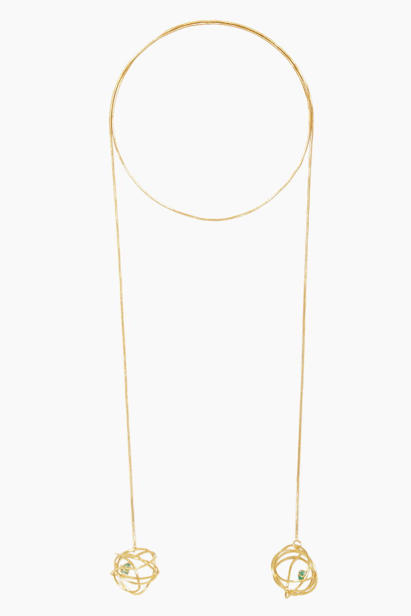 FENOMENA Chaos Long Necklace - Gold Jewelry | Gold| Chaos Long Necklace - Gold Long Gold Necklace Gold Wired Ball With Emerald Stone Detail Front View