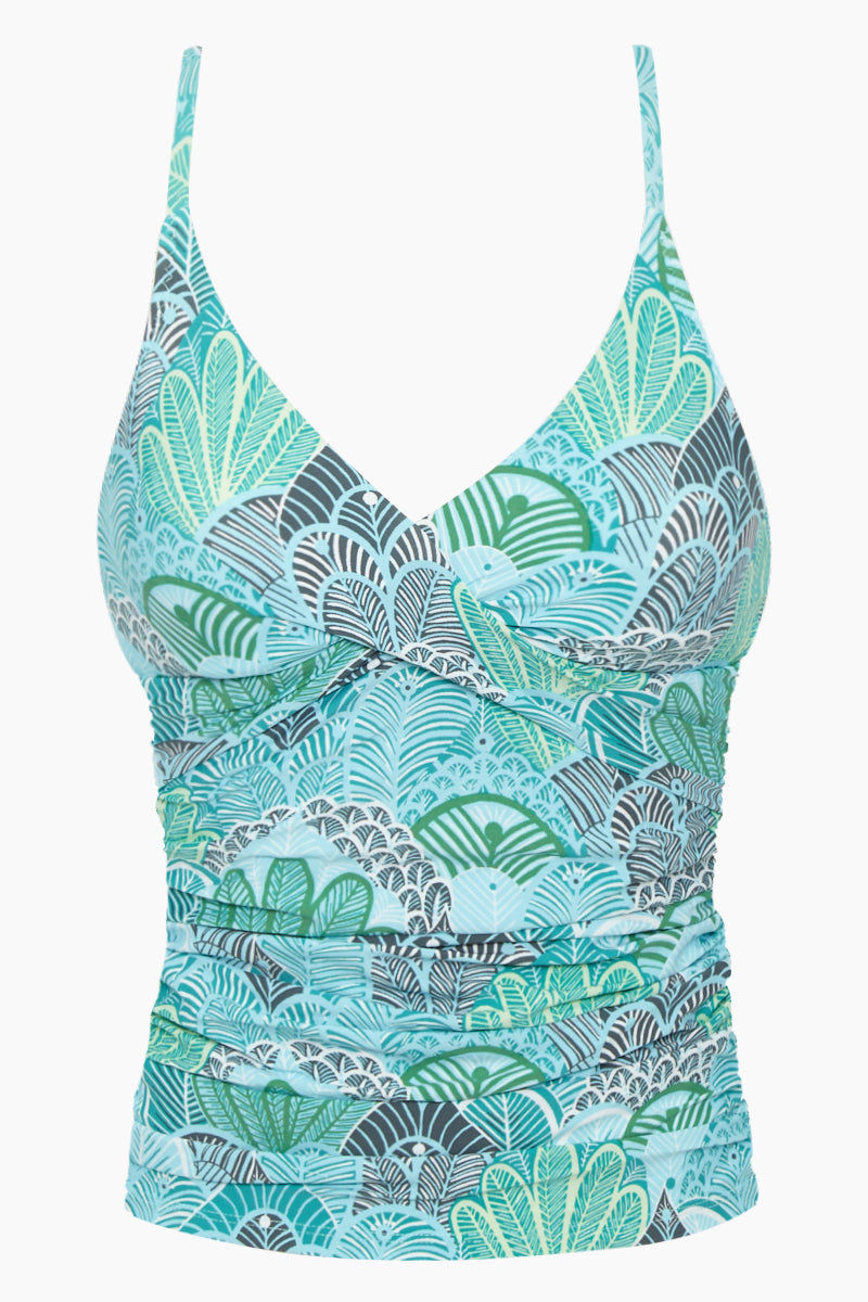 HELEN JON Floating Underwire Tankini Top - Dominica Print Bikini Top   Dominica Print  Helen Jon Floating Underwire Tankini Top - Dominica Print. Features:  Moderate to Fuller Coverage Front and back body shirring Floating underwire bra inside with front hook closure Crossover fabric at under bust provides support and shaping Adjustable shoulder straps 85% Nylon/ 15% Spandex Front View