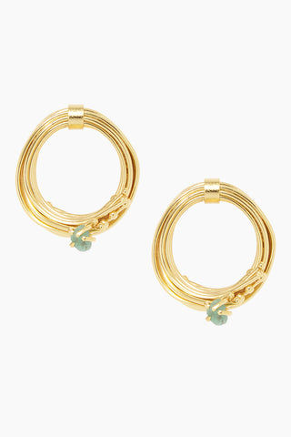 FENOMENA Emerald Mid Geo Hoops - Gold Jewelry | Gold| Fenomena Emerald Mid Geo Hoops - Gold 24k gold earrings with wrapped gold hoop detail Raw emerald gemstone  Handmade in Colombia  Front View