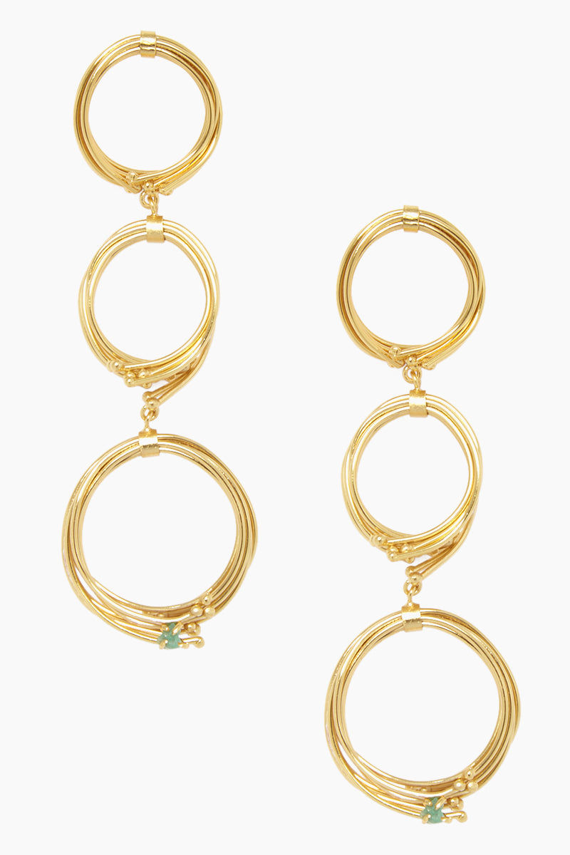 FENOMENA Geo 3 Earrings - Gold Jewelry | Gold| Fenomena Geo 3 Earrings - Gold Gold Dangling Earrings 3 Hoops Detail  Emerald Gemstone Detail Front View