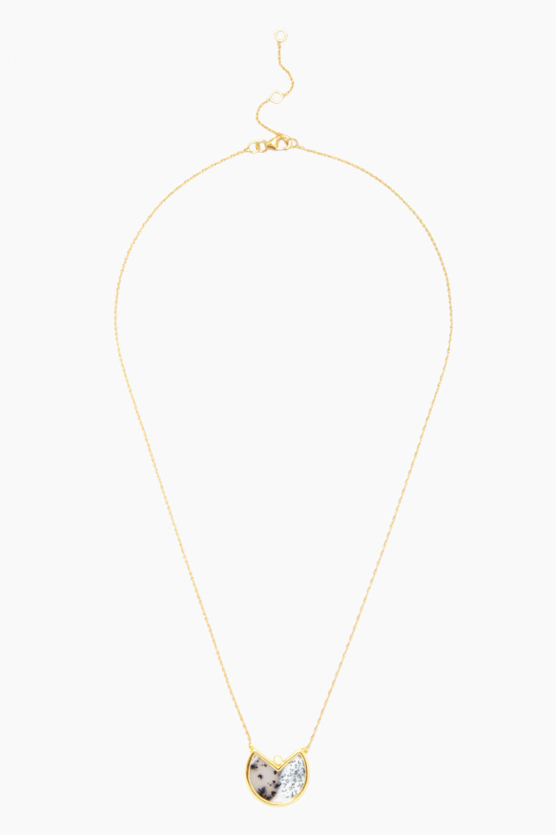 """CARRIE ELIZABETH 14K Gold Vermeil Dendrite Pendant - Gold/ Dendrite Jewelry   Gold/ Dendrite  Carrie Elizabeth 14K Gold Vermeil Dendrite Pendant - Gold/ Dendrite Translucent stone detail Single cut white diamond totaling 0.4carats Gold chain measures 16"""", with a 2"""" extender chain  Handmade in India Full View"""
