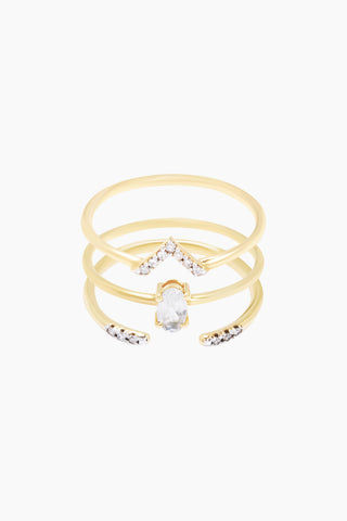 CARRIE ELIZABETH 14K Gold Vermeil Diamond & Moonstone Set of 3 Stacking Rings Jewelry | Gold/ Moonstone| Carrie Elizabeth 3X 14K Gold Vermeil Diamond And Moonstone Stacking Set - Gold/ Moonstone The three beautiful diamond and moonstone delicate bands are designed to sit perfectly together Set with single cut white diamonds totaling 0.07 carats Handmade in India Front View
