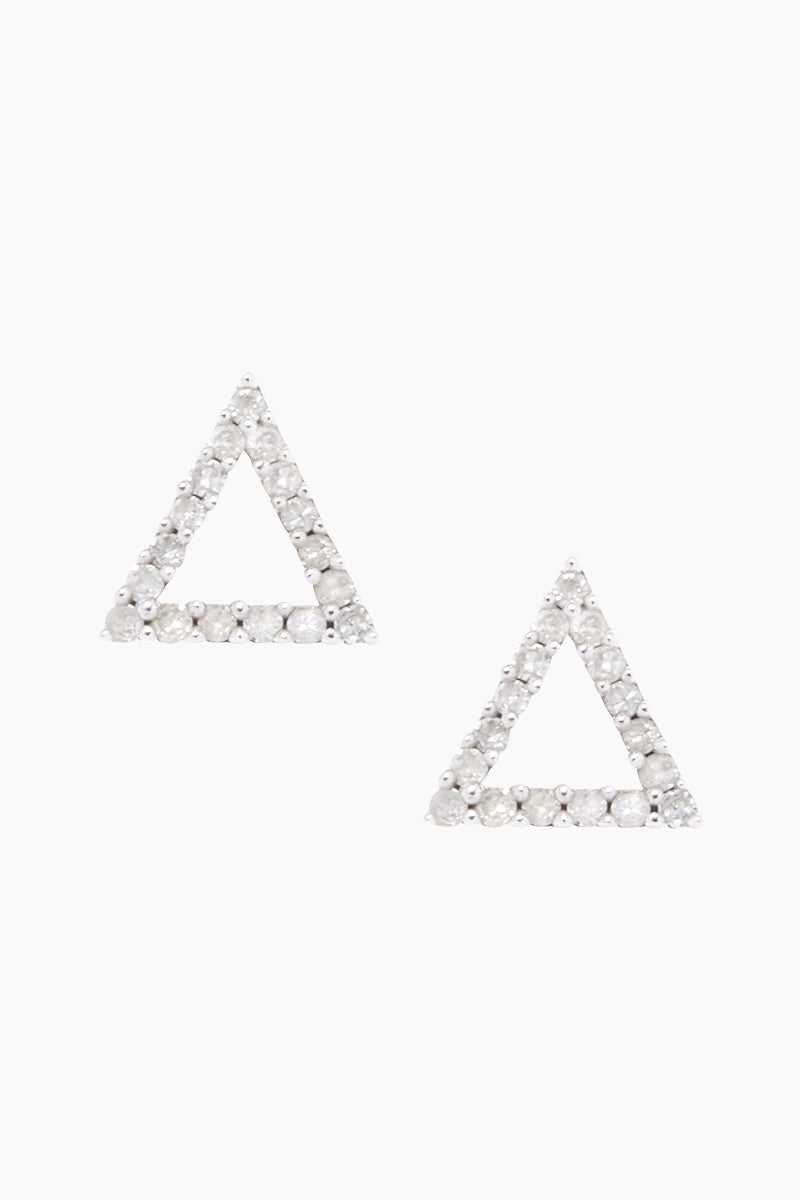 CARRIE ELIZABETH 14K Gold Vermeil Diamond Triangle Stud Earrings Jewelry | Gold/ Diamond| 14K Gold Vermeil Diamond Triangle Studs - Gold/ Diamond Triangle Shaped Diamond Stud Earrings  Each stud is set 14 single cut white diamonds totaling 0.05 carats Handmade in India Front View