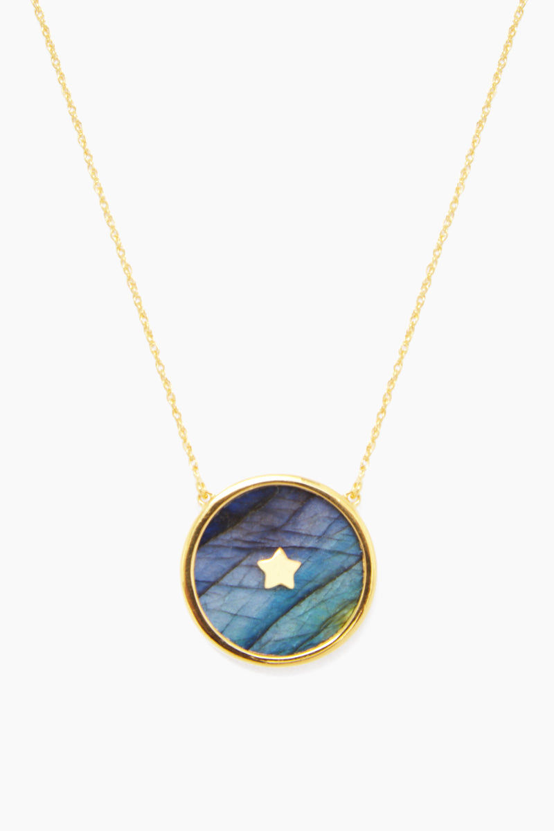 """CARRIE ELIZABETH 14K Gold Vermeil Night Sky Labradorite Pendant Necklace Jewelry 