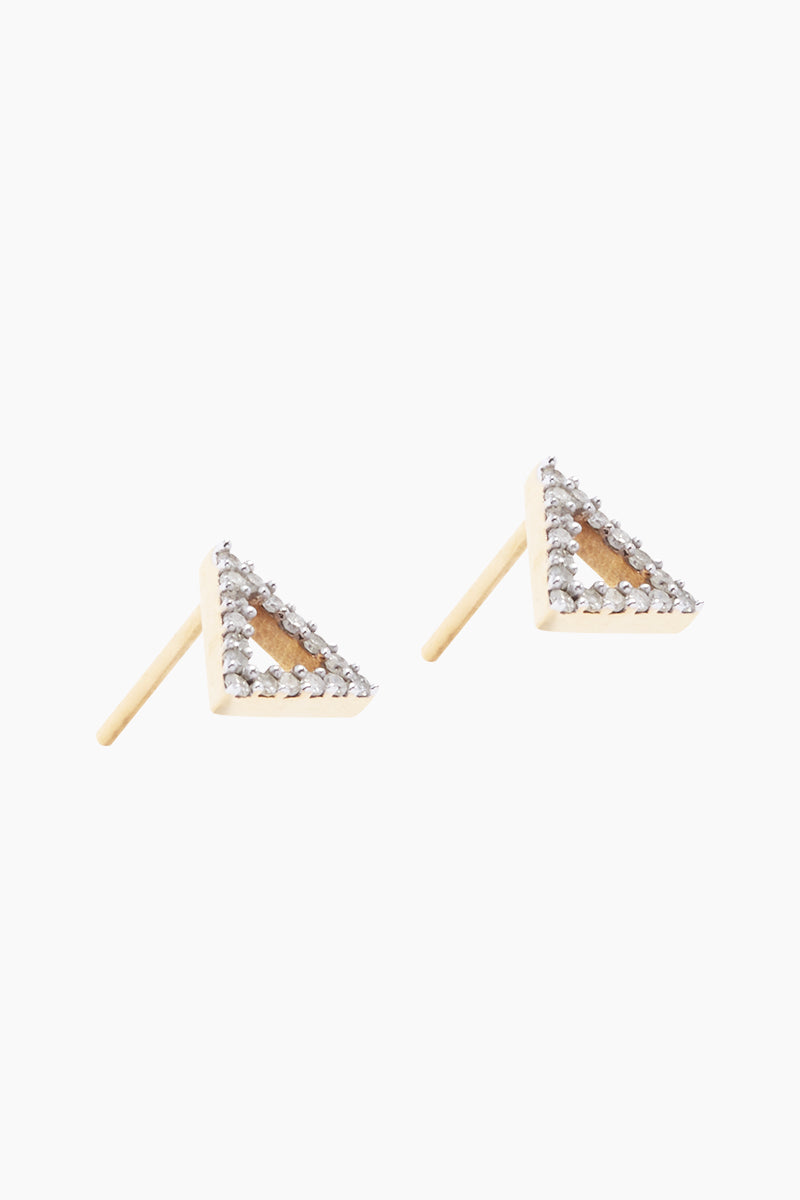 CARRIE ELIZABETH 14K Gold Vermeil Diamond Triangle Stud Earrings Jewelry | Gold/ Diamond| 14K Gold Vermeil Diamond Triangle Studs - Gold/ Diamond Triangle Shaped Diamond Stud Earrings  Each stud is set 14 single cut white diamonds totaling 0.05 carats Handmade in India Side View