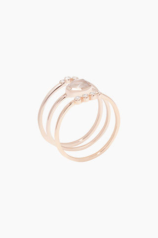 CARRIE ELIZABETH 14K Rose Gold Vermeil Cloud 9 Diamond & Rose Quartz Set of 3 Stacking Rings Jewelry | Rose Gold/ Rose Quartz|Carrie Elizabeth 14K Rose Gold Vermeil Cloud 9 Stacking Set - Rose Gold/ Rose Quartz Crafted in beautiful rose gold vermeil, these three delicate bands stack together  Each band is elegantly set with stunning semi-precious rose quartz stones & diamonds Handmade in India Side View