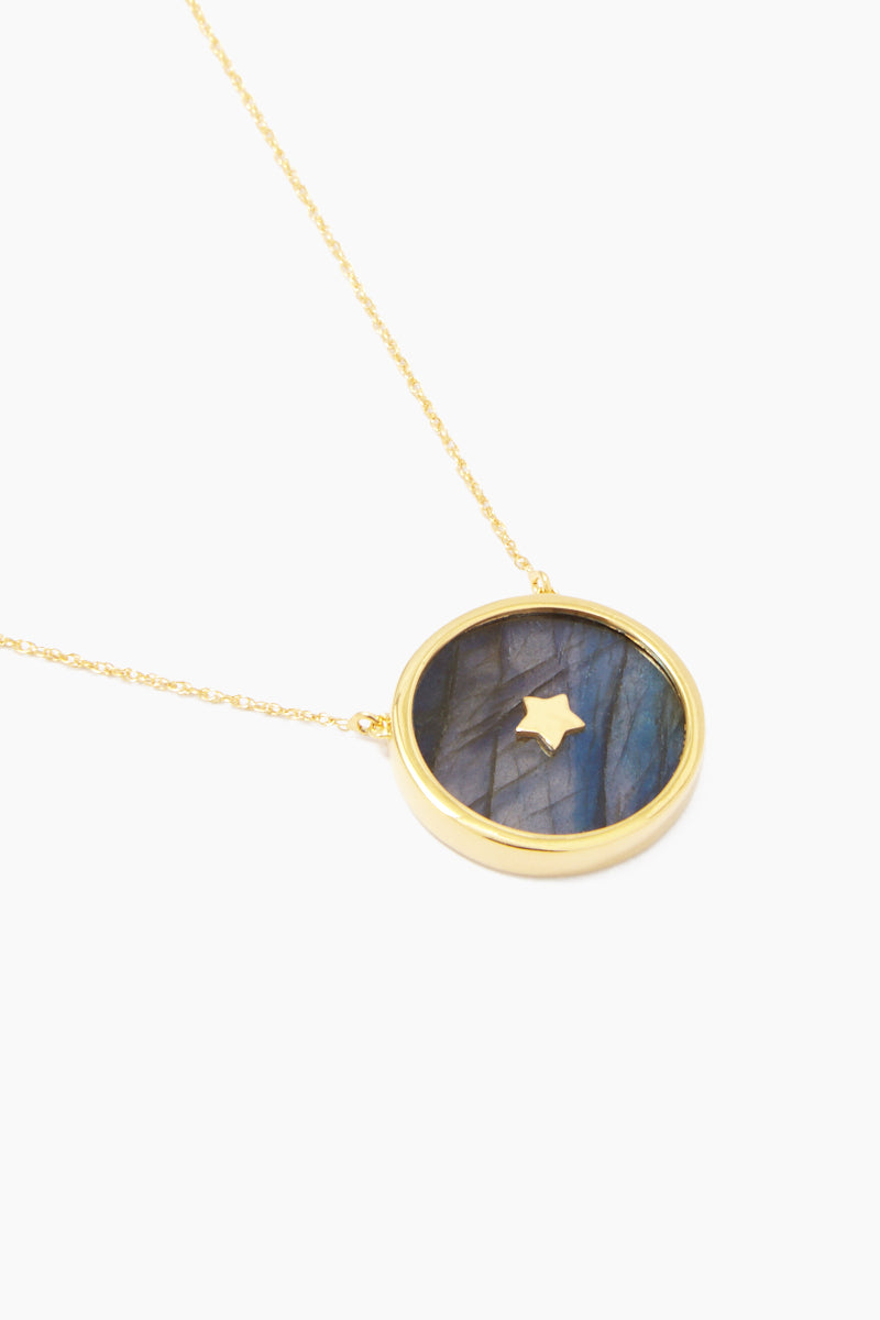 "CARRIE ELIZABETH 14K Gold Vermeil Night Sky Pendant - Gold/ Labradorite Jewelry | Gold/ Labradorite| Carrie Elizabeth 14K Gold Vermeil Night Sky Pendant - Gold/ Labradorite Stunning flat polished labradorite stone pendant Tiny 5-point 14k Gold Vermeil star twinkling brightly in its centre. This magical stone refracts light in iridescent flashes of peacock blue, gold, pale green and coppery red  The chain measures 16"", with a 2"" extender chain so you can adjust it to your desired length Close View"
