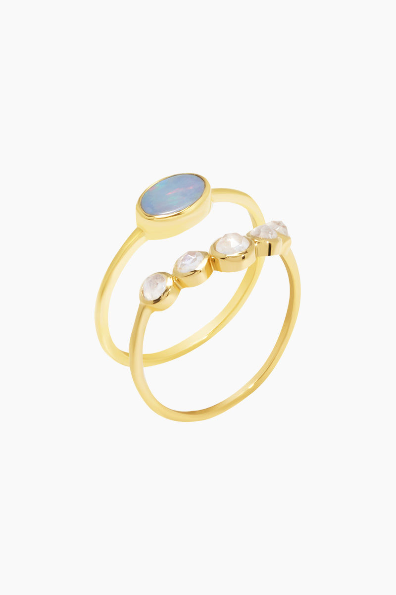 CARRIE ELIZABETH 14K Gold Vermeil Galactic Opal & Moonstone Set Of 2 Stacking Rings Jewelry | Gold/Opal/Moonstone| Carrie Elizabeth 14K Gold Vermeil Galactic Set - Gold/ Opal/Moonstone 2 delicate 14k Gold Vermeil bands one containing an oval Opal stone and the other natural rose cut moonstones Handmade in India  Side View