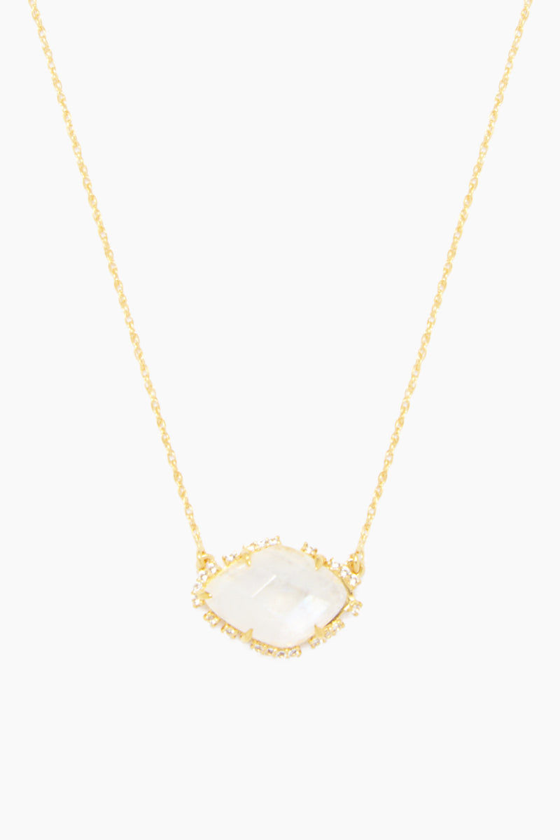 """CARRIE ELIZABETH 14K Gold Vermeil Topaz & Moonstone Scatter Pendant Necklace Jewelry 