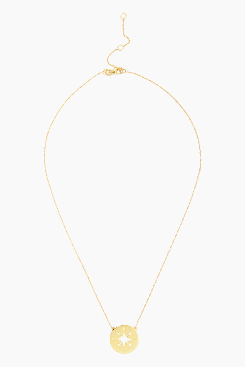 """CARRIE ELIZABETH 14K Gold Vermeil Gold Compass Pendant - Gold Jewelry 