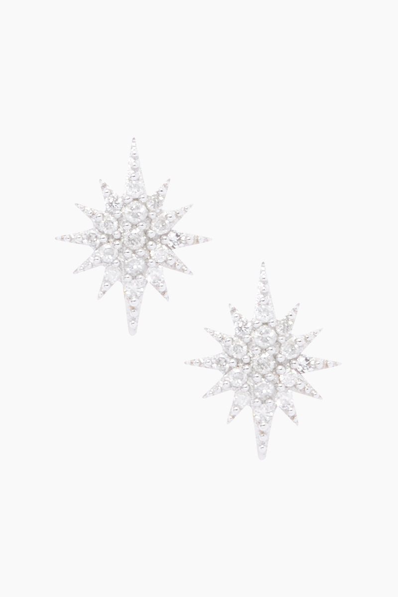 CARRIE ELIZABETH 14K Gold Vermeil Diamond Starburst Stud Earrings Jewelry | Gold/ Diamond| Carrie Elizabeth 14K Gold Vermeil Diamond Starburst Stud Earrings - Gold/ Diamond Starburst Diamond Stud Earrings  Each stud measures 0.8mm, is crafted in 14 Gold Vermeil and set with 16 single cut white diamonds totaling 0.09 carats Handmade in India Front View