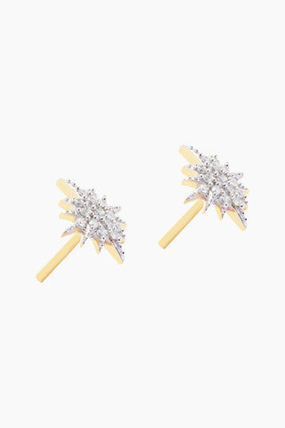 CARRIE ELIZABETH 14K Gold Vermeil Diamond Starburst Stud Earrings Jewelry | Gold/ Diamond| Carrie Elizabeth 14K Gold Vermeil Diamond Starburst Stud Earrings - Gold/ Diamond Starburst Diamond Stud Earrings  Each stud measures 0.8mm, is crafted in 14 Gold Vermeil and set with 16 single cut white diamonds totaling 0.09 carats Handmade in India Side View