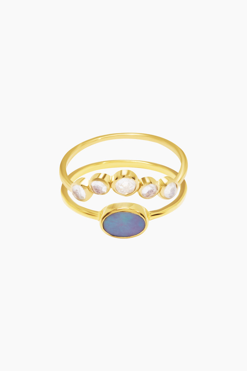 CARRIE ELIZABETH 14K Gold Vermeil Galactic Opal & Moonstone Set Of 2 Stacking Rings Jewelry | Gold/Opal/Moonstone| Carrie Elizabeth 14K Gold Vermeil Galactic Set - Gold/ Opal/Moonstone 2 delicate 14k Gold Vermeil bands one containing an oval Opal stone and the other natural rose cut moonstones Handmade in India  Front View