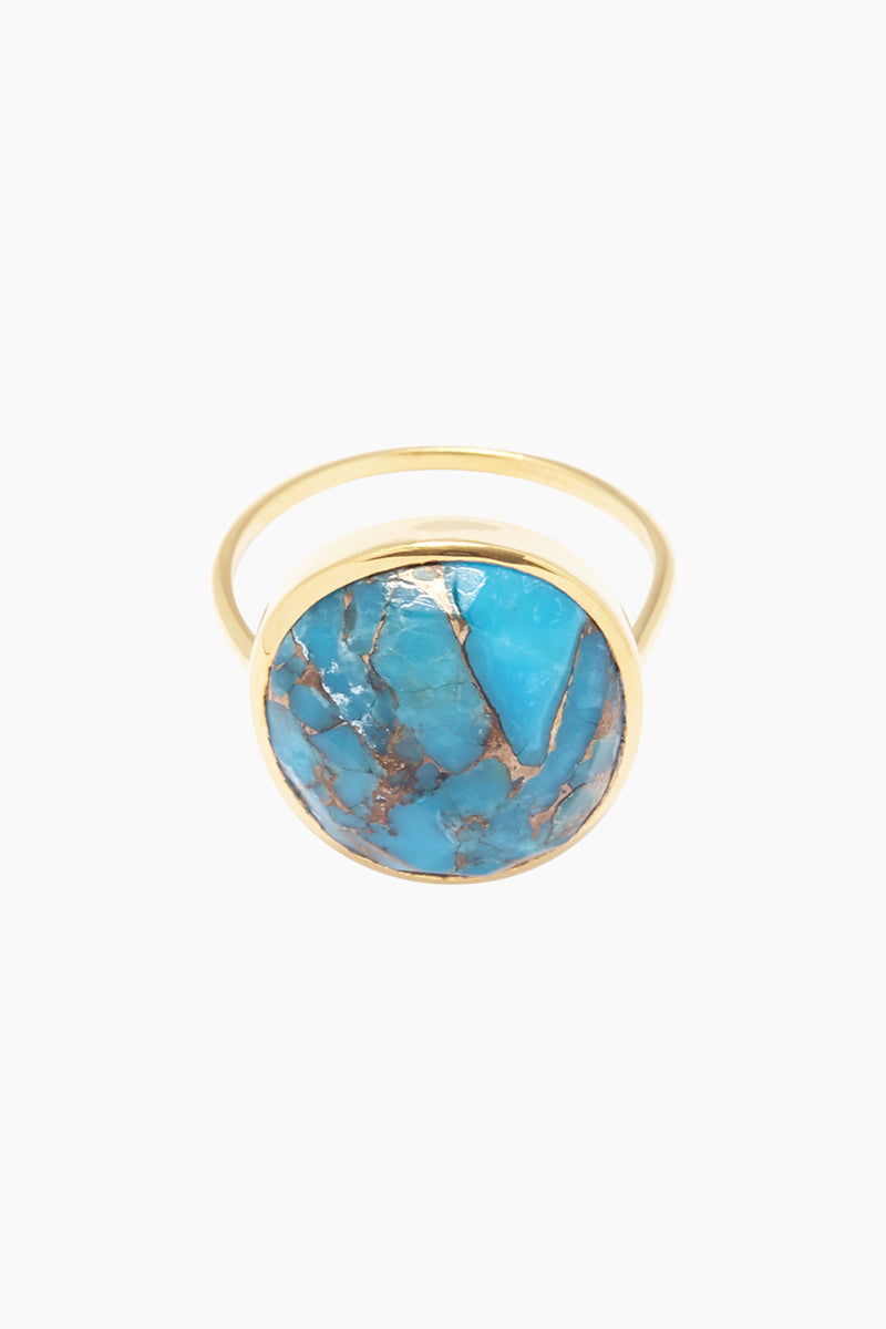 """CARRIE ELIZABETH 14K Gold Vermeil Turquoise Statement Ring Jewelry   Gold/ Turquoise  Carrie Elizabeth 14K Gold Vermeil Turquoise Mohave - Gold/ Turquoise Copper turquoise stone pendant approximately 13mm wide x 15mm long 18"""" chain plus a 2"""" extender Hand made in Jaipur, India Front View"""