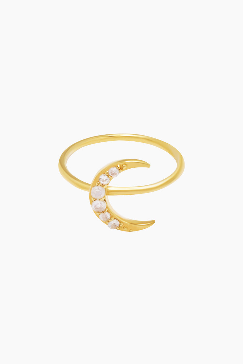 CARRIE ELIZABETH 14K Gold Vermeil Crescent Moon Ring - Gold/ Moonstone Jewelry | Gold/ Moonstone|Carrie Elizabeth 14K Gold Vermeil Crescent Moon Ring - Gold/ Moonstone A beautiful crescent moon has been crafted in 14k Gold Vermeil and then set with iridescent moonstone  Made from a sterling silver base metal, and is then coated with really thick gold plate Handmade in India Front View