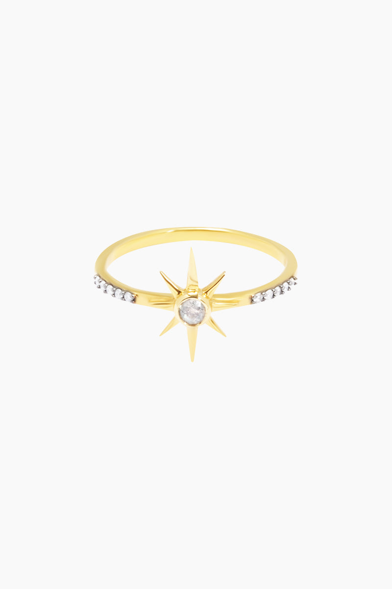 CARRIE ELIZABETH 14K Gold Vermeil Labradorite Star Stone Ring Jewelry | Gold/ Labradorite| Carrie Elizabeth 14K Gold Vermeil Nova Star Ring - Gold/ Labradorite The simple gold vermeil star is set with a semi-precious rose cut labradorite stone Made from a sterling silver base metal and is then coated with really thick gold plate Handmade in India Front View