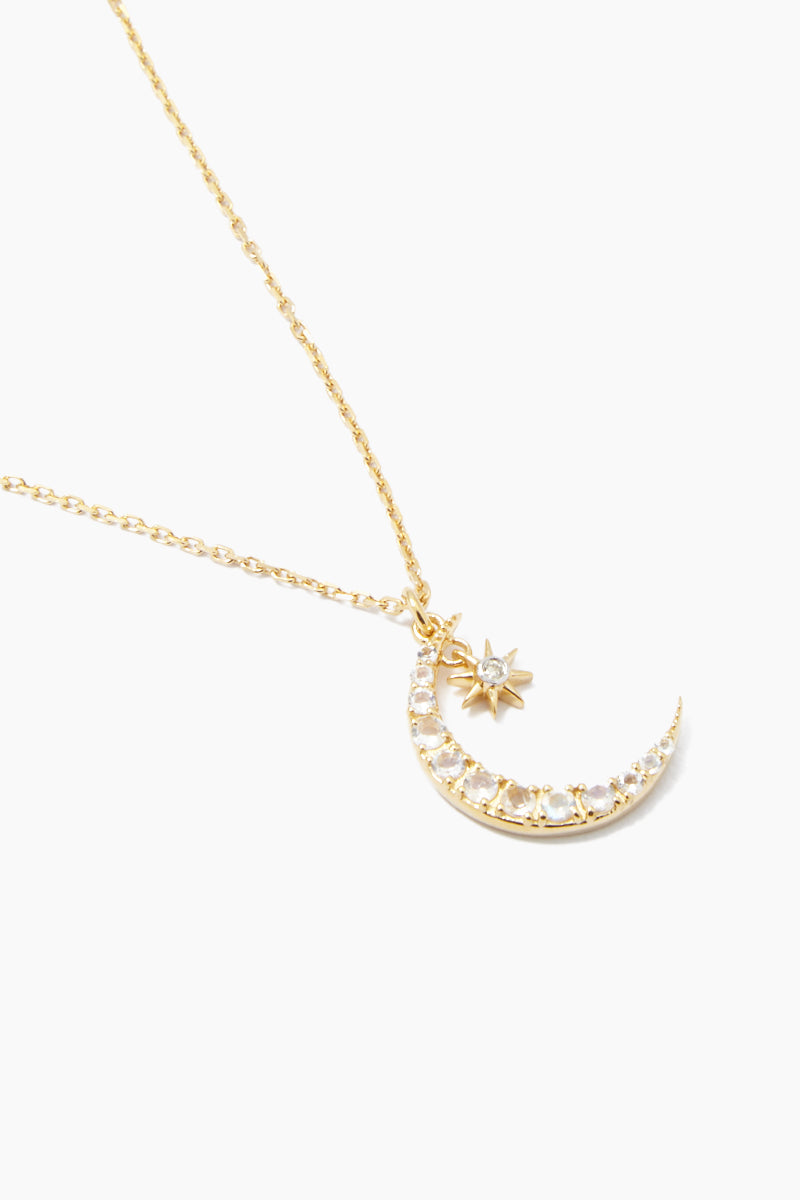 """CARRIE ELIZABETH 14K Gold Vermeil Moon & Star Pendant - Gold/ Moonstone/ Diamond Jewelry 