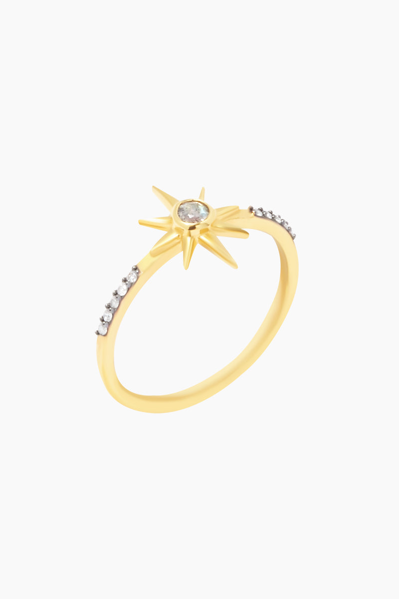 CARRIE ELIZABETH 14K Gold Vermeil Labradorite Star Stone Ring Jewelry | Gold/ Labradorite| Carrie Elizabeth 14K Gold Vermeil Nova Star Ring - Gold/ Labradorite The simple gold vermeil star is set with a semi-precious rose cut labradorite stone Made from a sterling silver base metal and is then coated with really thick gold plate Handmade in India Side View