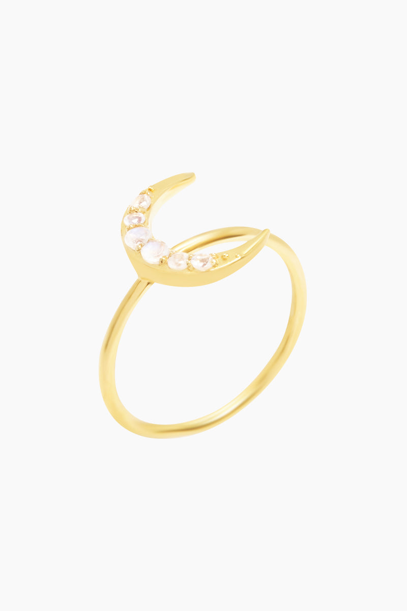 CARRIE ELIZABETH 14K Gold Vermeil Crescent Moon Ring - Gold/ Moonstone Jewelry | Gold/ Moonstone| Carrie Elizabeth 14K Gold Vermeil Crescent Moon Ring - Gold/ Moonstone A beautiful crescent moon has been crafted in 14k Gold Vermeil and then set with iridescent moonstone  Made from a sterling silver base metal, and is then coated with really thick gold plate Handmade in India Front View