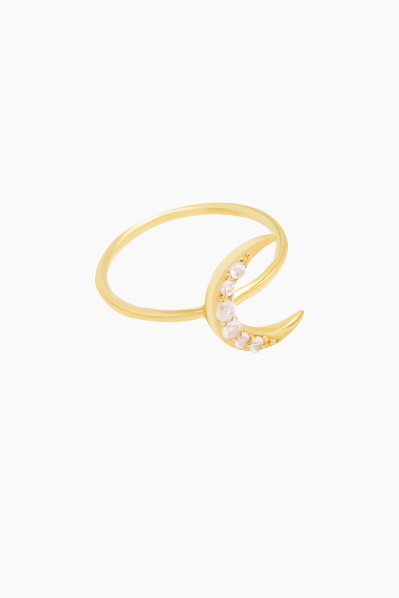 CARRIE ELIZABETH 14K Gold Vermeil Crescent Moon Ring - Gold/ Moonstone Jewelry | Gold/ Moonstone| Carrie Elizabeth 14K Gold Vermeil Crescent Moon Ring - Gold/ Moonstone A beautiful crescent moon has been crafted in 14k Gold Vermeil and then set with iridescent moonstone  Made from a sterling silver base metal, and is then coated with really thick gold plate Handmade in India Side View