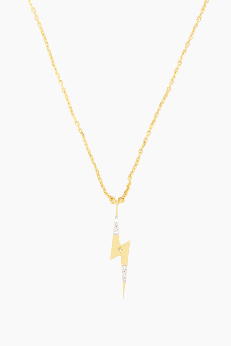 "CARRIE ELIZABETH 14K Gold Vermeil Diamond Set Lightning Bolt Pendant - Gold/ Diamond Jewelry | Gold/ Diamond| Carrie Elizabeth 14K Gold Vermeil Diamond Set Lightning Bolt Pendant - Gold/ Diamond A beautiful lightning bolt pendant in 14k Gold Vermeil and then set with genuine diamonds totaling 0.10 carats The chain length is 20"" with a 2"" extender Handmade in India Front View"