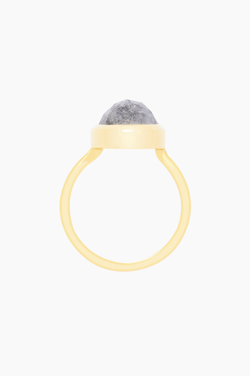 CARRIE ELIZABETH 14K Gold Vermeil Rutilated Quartz Stone Ring Jewelry | Gold/ Rutilated Quartz| Carrie Elizabeth 14K Gold Vermeil Simple Semi Precious Stone Ring - Gold/ Rutilated Quartz The semi precious stones are rose cut into an organic shaped setting and set into 14k Gold Vermeil.  Rutilated Quartz is a beautiful clear stone with black lines which run throughout Handmade in India  Front View