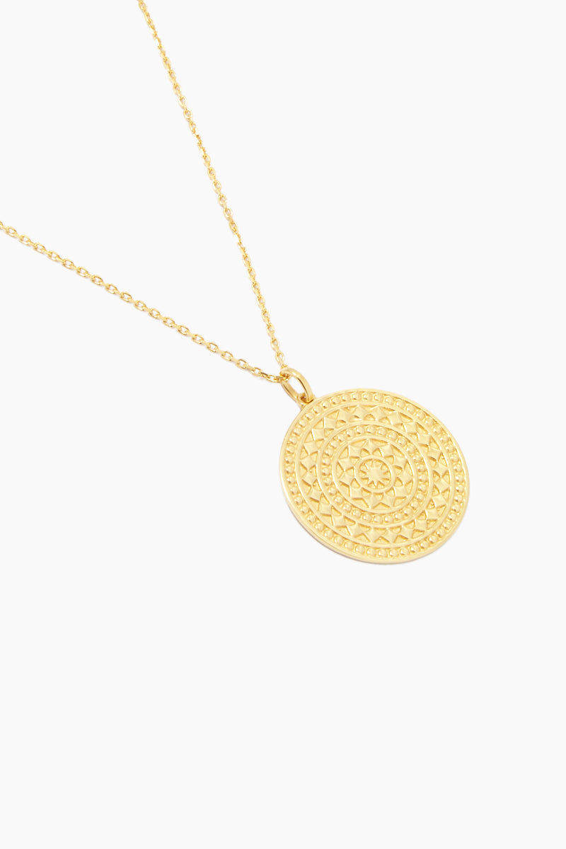 """CARRIE ELIZABETH 14K Gold Vermeil Large Aztec Disc Pendant Necklace Jewelry 