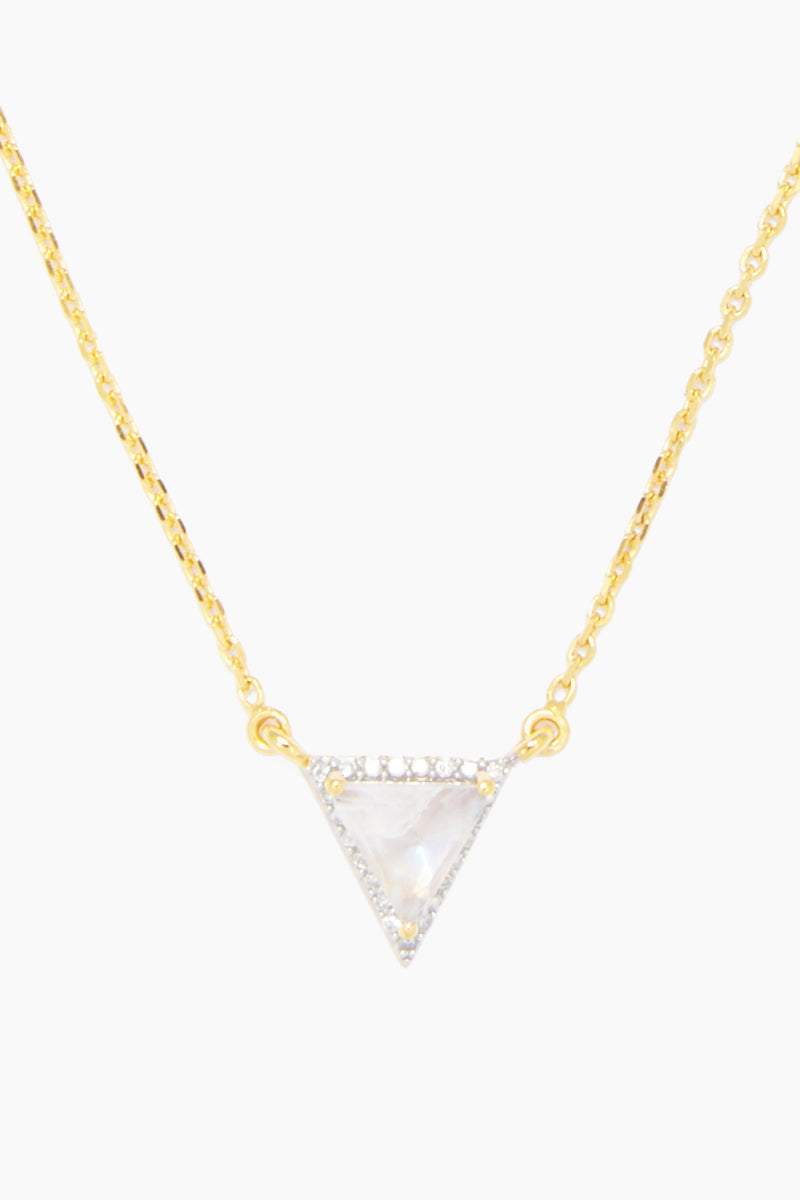 CARRIE ELIZABETH 14K Gold Vermeil Moonstone & Diamond Triangle Pendant Necklace Jewelry | Gold/ Moonstone/ Diamond| Carrie Elizabeth  14K Gold Vermeil Triangle Pendant - Gold/ Moonstone/ Diamond 14k gold vermeil, an iridescent moonstone is rose cut into a beautiful contemporary triangle shape Surrounded with single cut diamonds totaling 0.14 carats Handmade in India  Front View