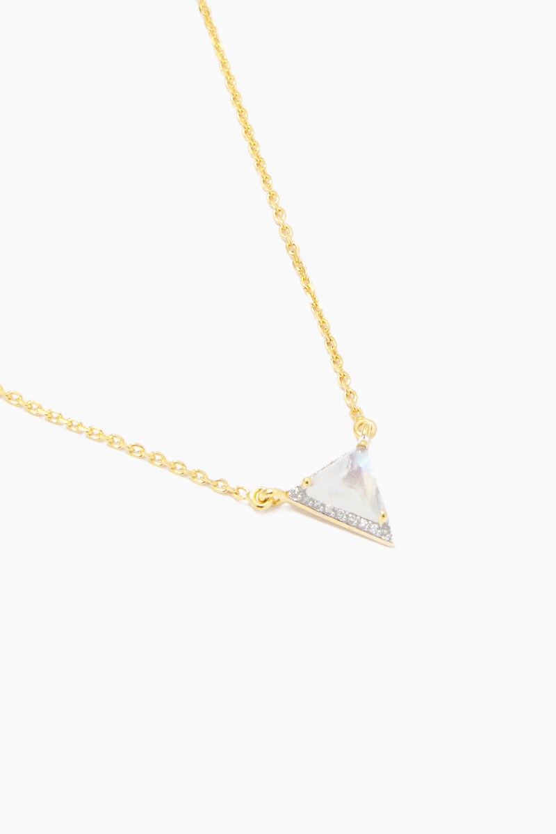CARRIE ELIZABETH 14K Gold Vermeil Triangle Pendant - Gold/ Moonstone/ Diamond Jewelry | Gold/ Moonstone/ Diamond| Carrie Elizabeth  14K Gold Vermeil Triangle Pendant - Gold/ Moonstone/ Diamond 14k gold vermeil, an iridescent moonstone is rose cut into a beautiful contemporary triangle shape Surrounded with single cut diamonds totaling 0.14 carats Handmade in India  Close View