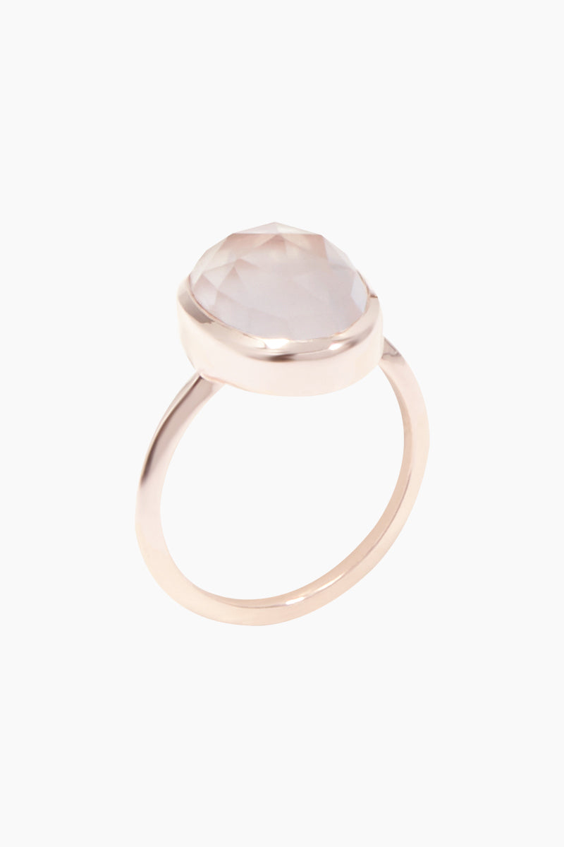 CARRIE ELIZABETH 14K Rose Gold Vermeil Rose Quartz Stone Ring Jewelry | Rose Gold/ Rose Quartz| Carrie Elizabeth 14K Gold Vermeil Simple Semi Precious Stone Ring - Rose Gold/ Rose Quartz The semi precious stones are rose cut into an organic shaped setting and set into 14k Rose Gold Vermeil.  Rose Quartz, is a stone of the heart and of unconditional love. Handmade in India  Front View