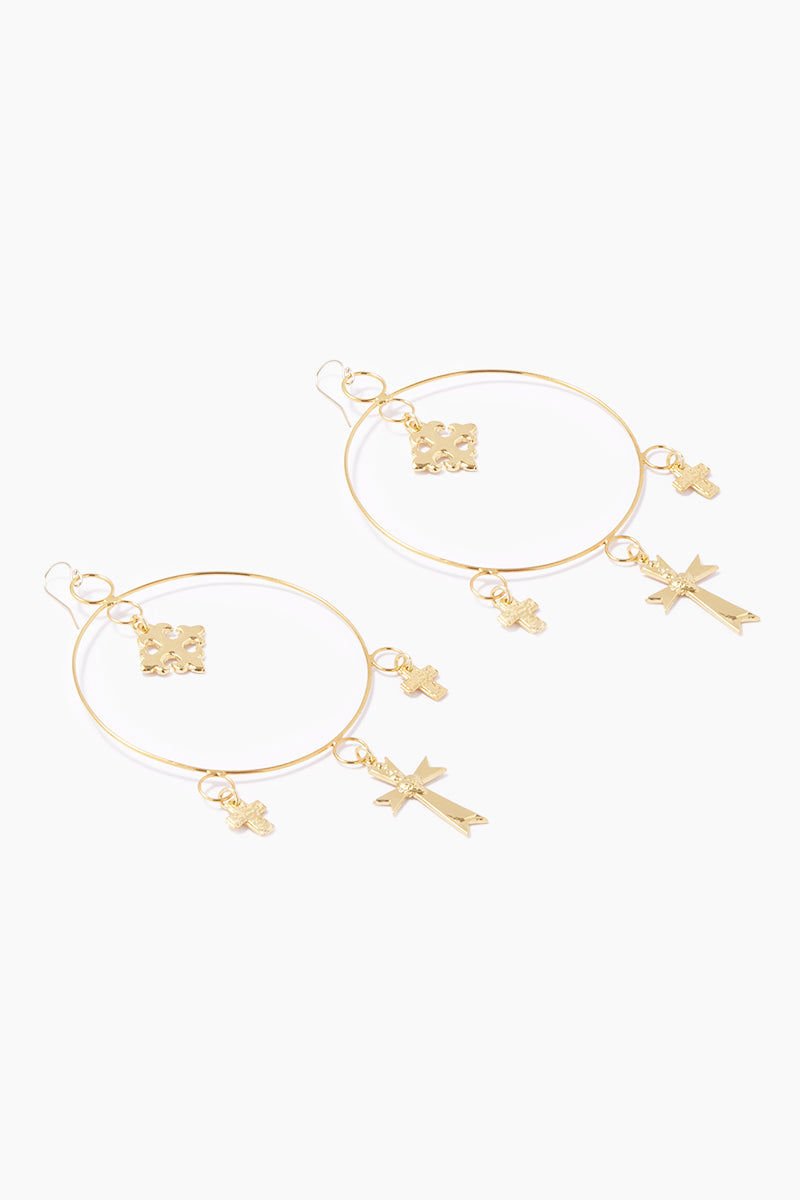 LUX DIVINE Cleo Hoop Earrings - Gold Jewelry | Gold| Lux Devine Cleo Hoop Earrings - Gold Hoop Earrings 24kt Gold Plated Brass Charms  14kt Gold Fill Ear Wires Nickel Free Side View