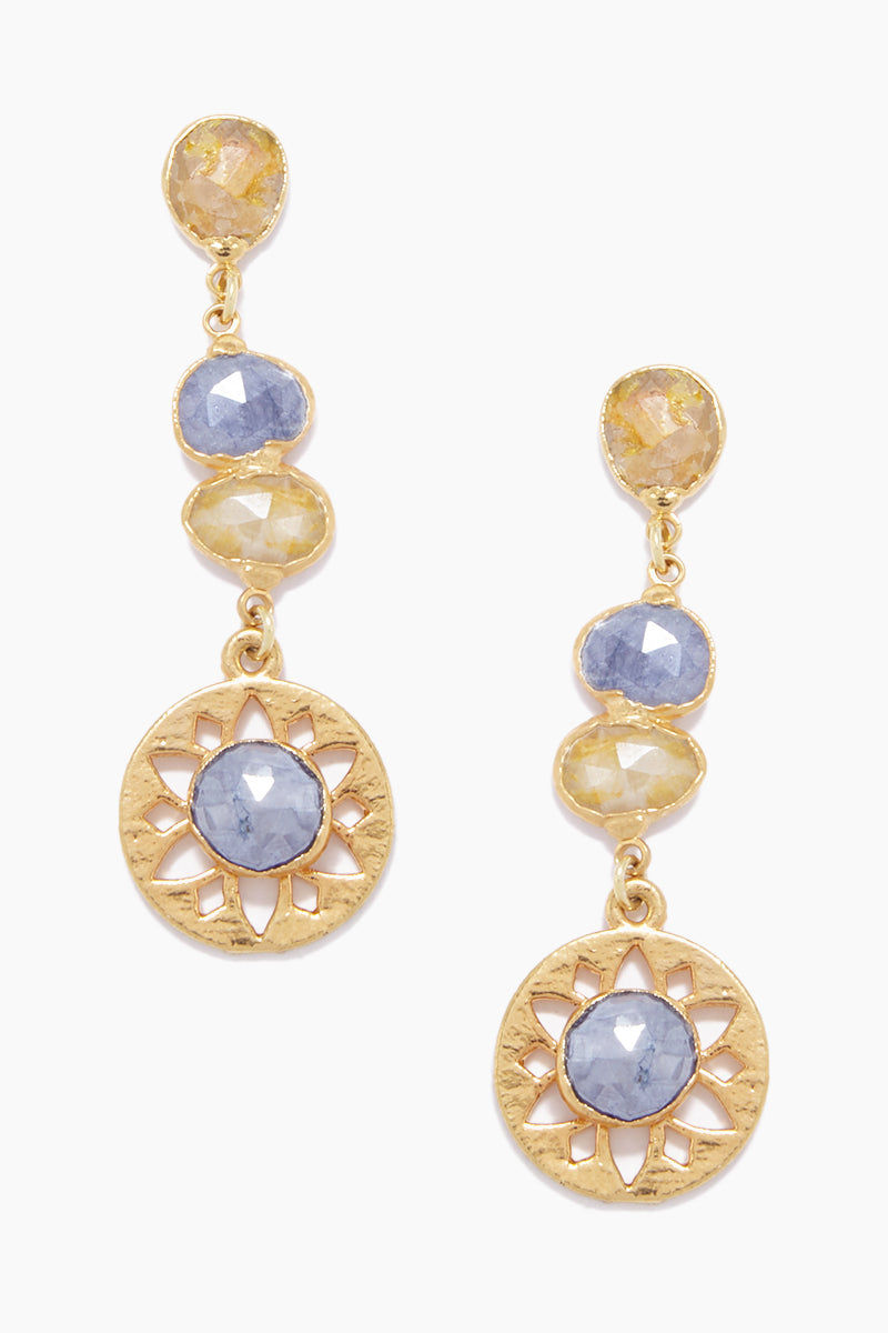 LUX DEVINE Olympia Earrings - Yellow/Blue Jewelry | Yellow/Blue| Lux Devine Olympia Earrings - Yellow/Blue Dangling Earrings 24kt Gold Electroformed  High quality Silverite Stainless Steel posts Front View