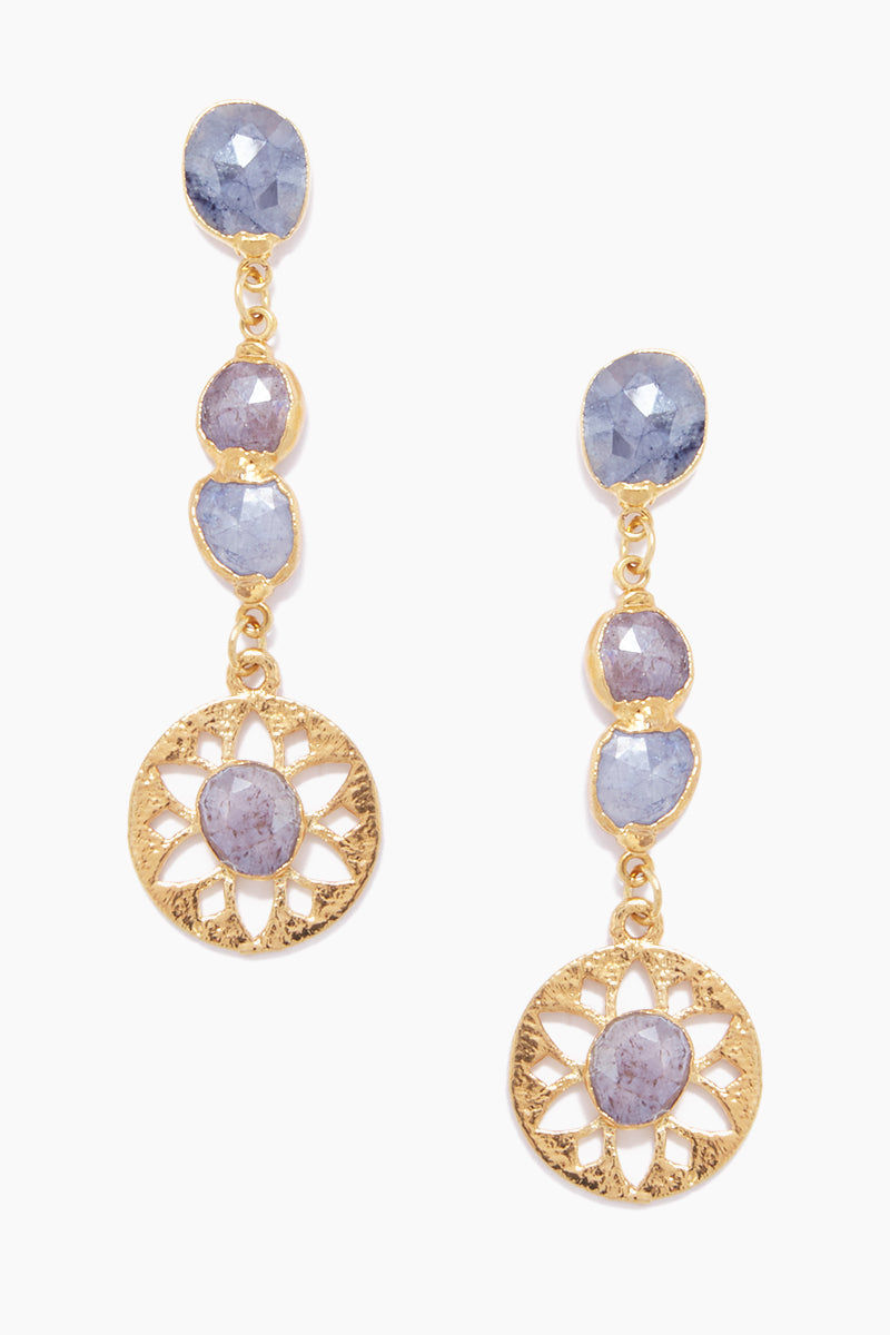 LUX DIVINE Olympia Earrings - Blue/Pink Jewelry | Blue/Pink| Lux Devine Olympia Earrings - Blue/Pink Dangling Earrings 24kt Gold Electroformed  High quality Silverite Stainless Steel posts Front View