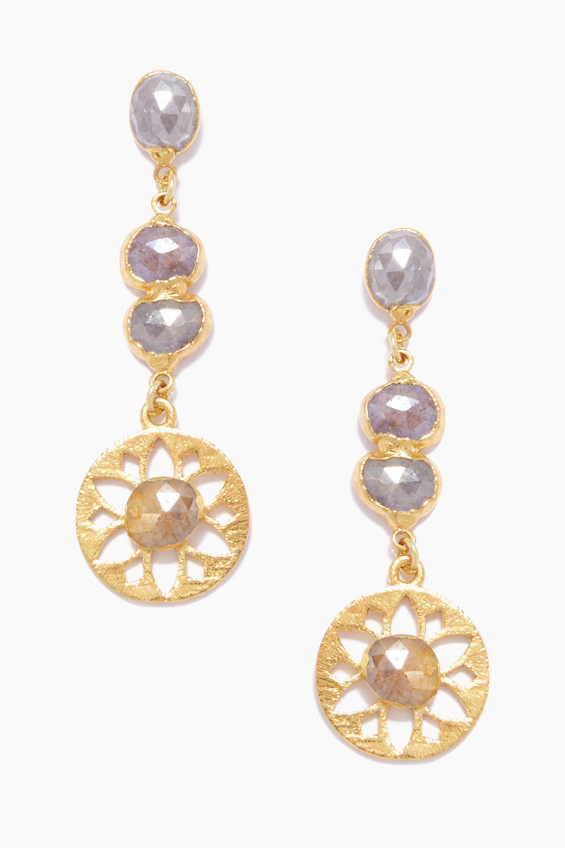 LUX DIVINE Olympia Dangling Earrings - Pink/Yellow Jewelry | Pink/Yellow| Lux Devine Olympia Earrings - Pink/Yellow Dangling Earrings 24kt Gold Electroformed  High quality Silverite Stainless Steel posts Front View