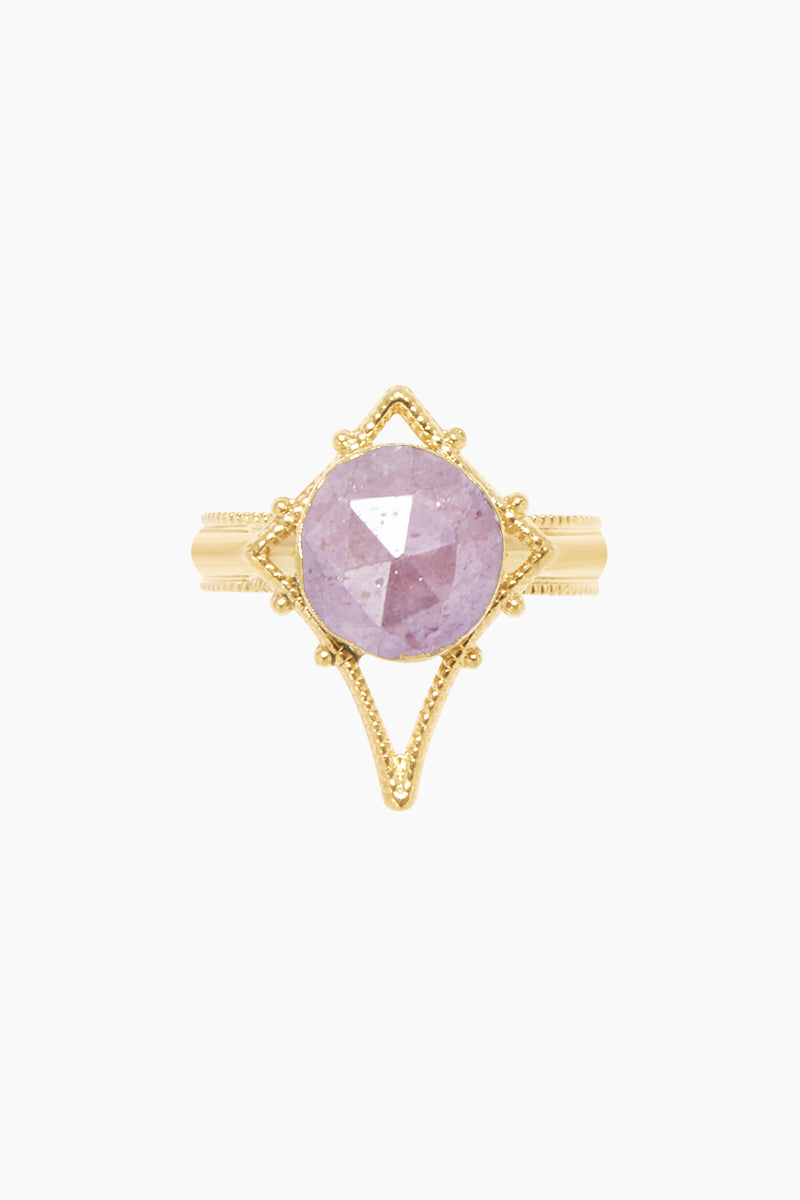 LUX DIVINE Tempest Ring - Dusty Rose Jewelry | Dusty Rose| Lux Devine Tempest Ring - Dusty Rose Gold plated brass ring  Gold asymmetric pendant with dusty rose gemstones Front View