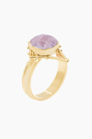 LUX DEVINE Tempest Ring - Dusty Rose Jewelry | Dusty Rose| Lux Devine Tempest Ring - Dusty Rose Gold plated brass ring  Gold asymmetric pendant with dusty rose gemstones Side View