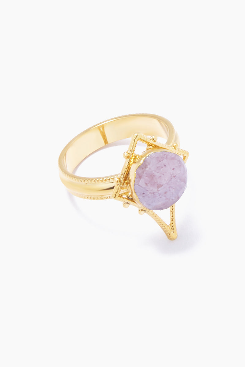 LUX DIVINE Tempest Ring - Dusty Rose Jewelry | Dusty Rose| Lux Devine Tempest Ring - Dusty Rose Gold plated brass ring  Gold asymmetric pendant with dusty rose gemstones Side View