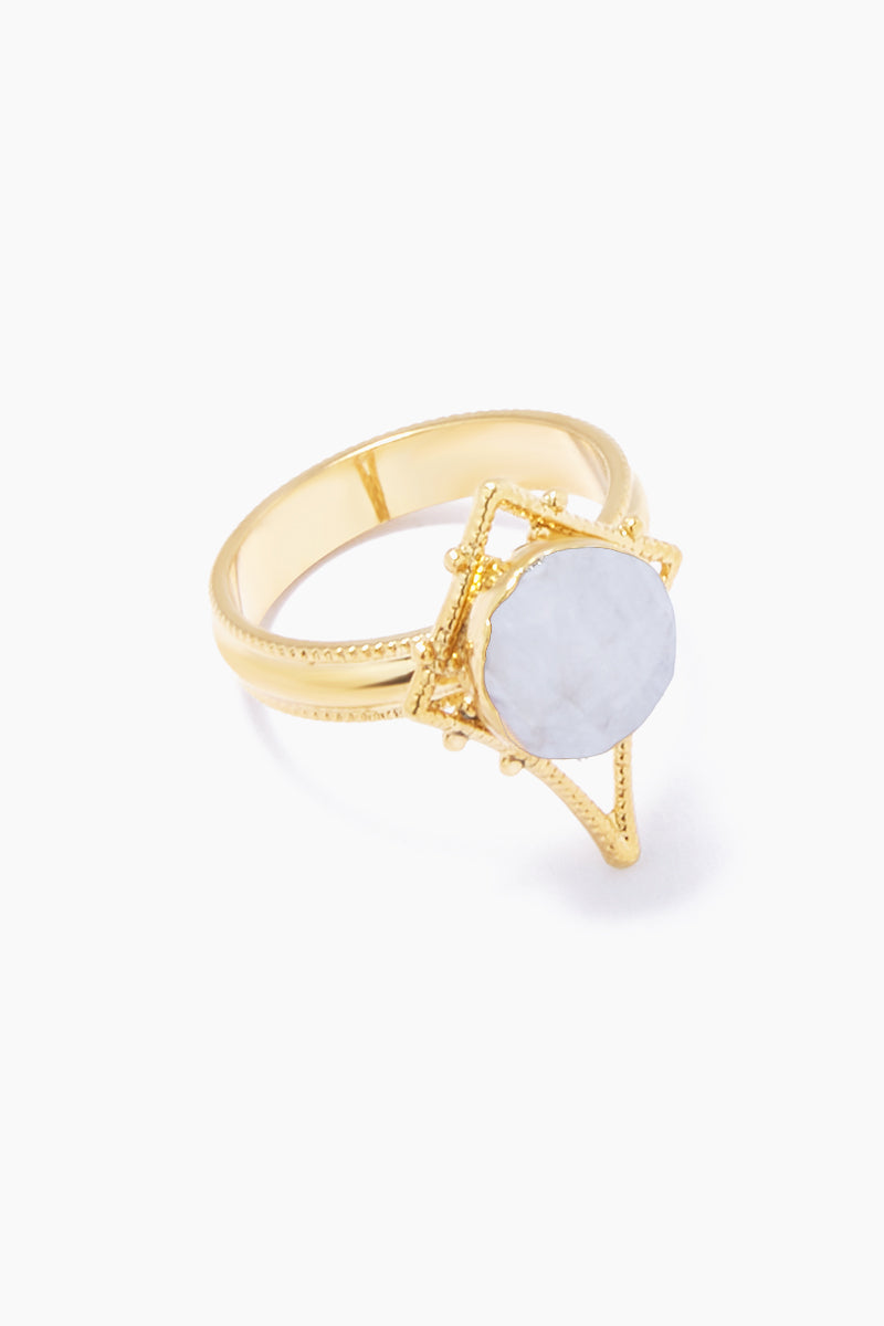 LUX DIVINE Tempest Ring - Snow White Jewelry | Snow White| Lux Devine Tempest Ring - Snow White Gold plated brass ring  Gold asymmetric pendant with white quartz gemstones Nickel free Front View