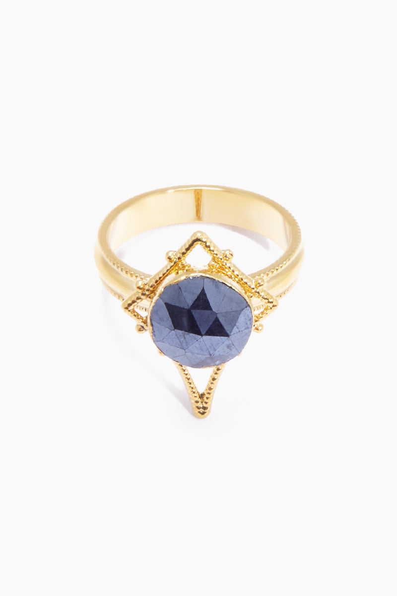 LUX DIVINE Tempest Ring - Midnight Blue Jewelry | Midnight Blue| Lux Devine Tempest Ring - Midnight Blue Gold plated brass ring  Gold asymmetric pendant with blue quartz gemstones Nickel free Front View