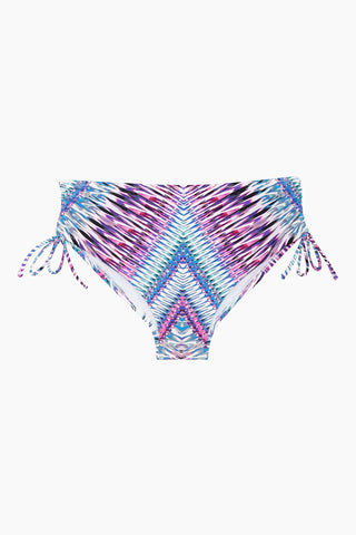 RAISINS CURVE Pacific Tie Side Bikini Bottom (Curves) - Purple Rain Bikini Bottom | Purple Rain| Raisins Curve Pacific Pant Bikini Bottom - Purple Rain. Plus-size full-coverage bikini bottom with adjustable side-ties and side scrunch detail. Front View