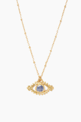 "LUX DIVINE Iris Necklace - Blue Jewelry | Blue| Lux Devine Iris Necklace - Blue 18"" gold chain with eye shaped pendant Pendant contains blue Silverite gemstone  Nickel free  Front View"