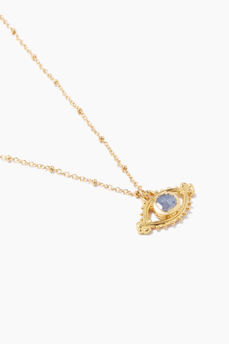 "LUX DIVINE Iris Necklace - Blue Jewelry | Blue| Lux Devine Iris Necklace - Blue 18"" gold chain with eye shaped pendant Pendant contains blue Silverite gemstone  Nickel free  Close View"