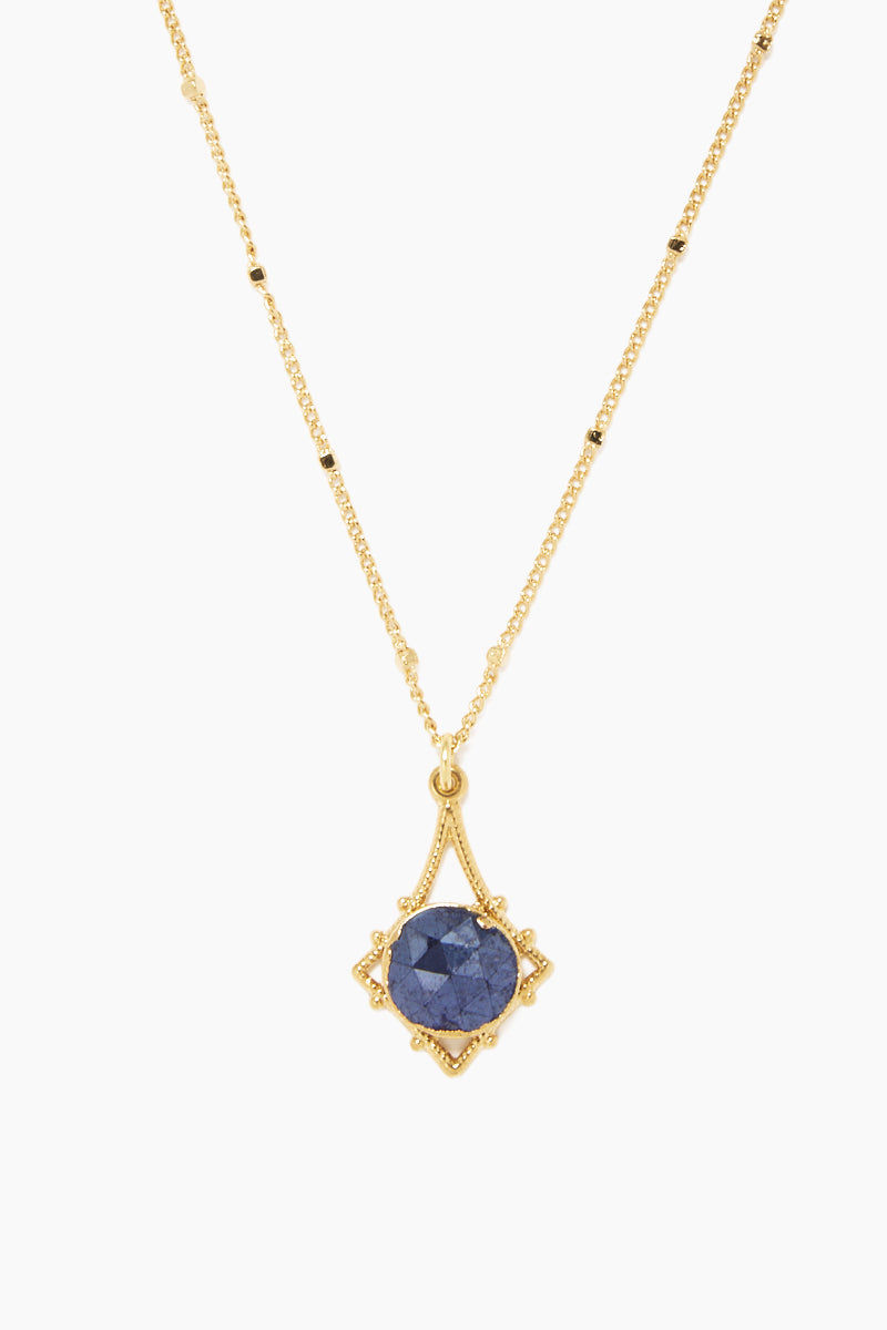 "LUX DIVINE Tempest Necklace - Midnight Blue Jewelry | Midnight Blue| Lux Devine Tempest Necklace - Midnight Blue 18"" gold plated chain  Gold asymmetric pendant with blue quartz gemstones Front View"