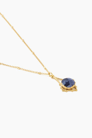 "LUX DIVINE Tempest Necklace - Midnight Blue Jewelry | Midnight Blue| Lux Devine Tempest Necklace - Midnight Blue 18"" gold plated chain  Gold asymmetric pendant with blue quartz gemstones Side View"