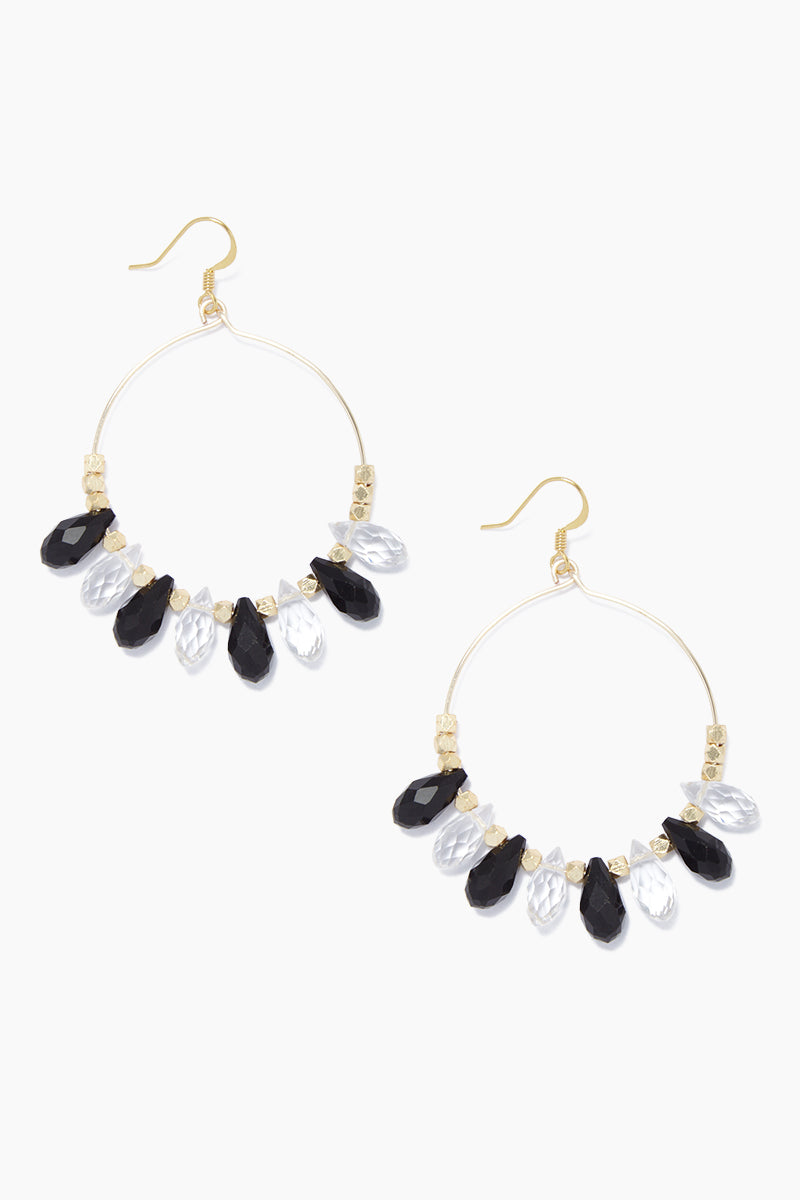 "GEMELLI JEWELRY Carson Beaded Hoop Earrings - Black/Clear Jewelry | Black/Clear| Gemelli Jewelry Carson Earrings - Black/Clear. Features:  Gold plated 2"" hoops quartz drops Front View"