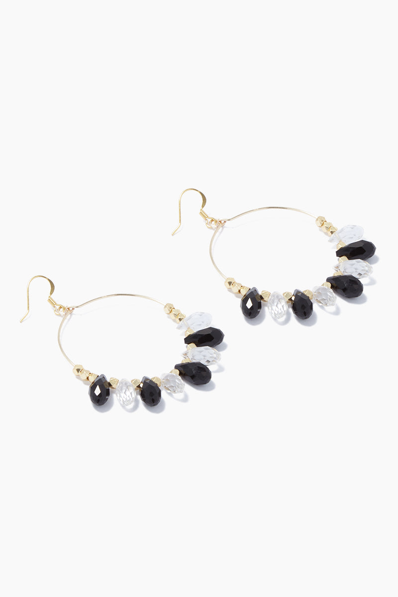 "GEMELLI JEWELRY Carson Beaded Hoop Earrings - Black/Clear Jewelry | Black/Clear| Gemelli Jewelry Carson Earrings - Black/Clear. Black/Clear| Gemelli Jewelry Carson Earrings - Black/Clear. Features:  Gold plated 2"" hoops quartz drops Front View"
