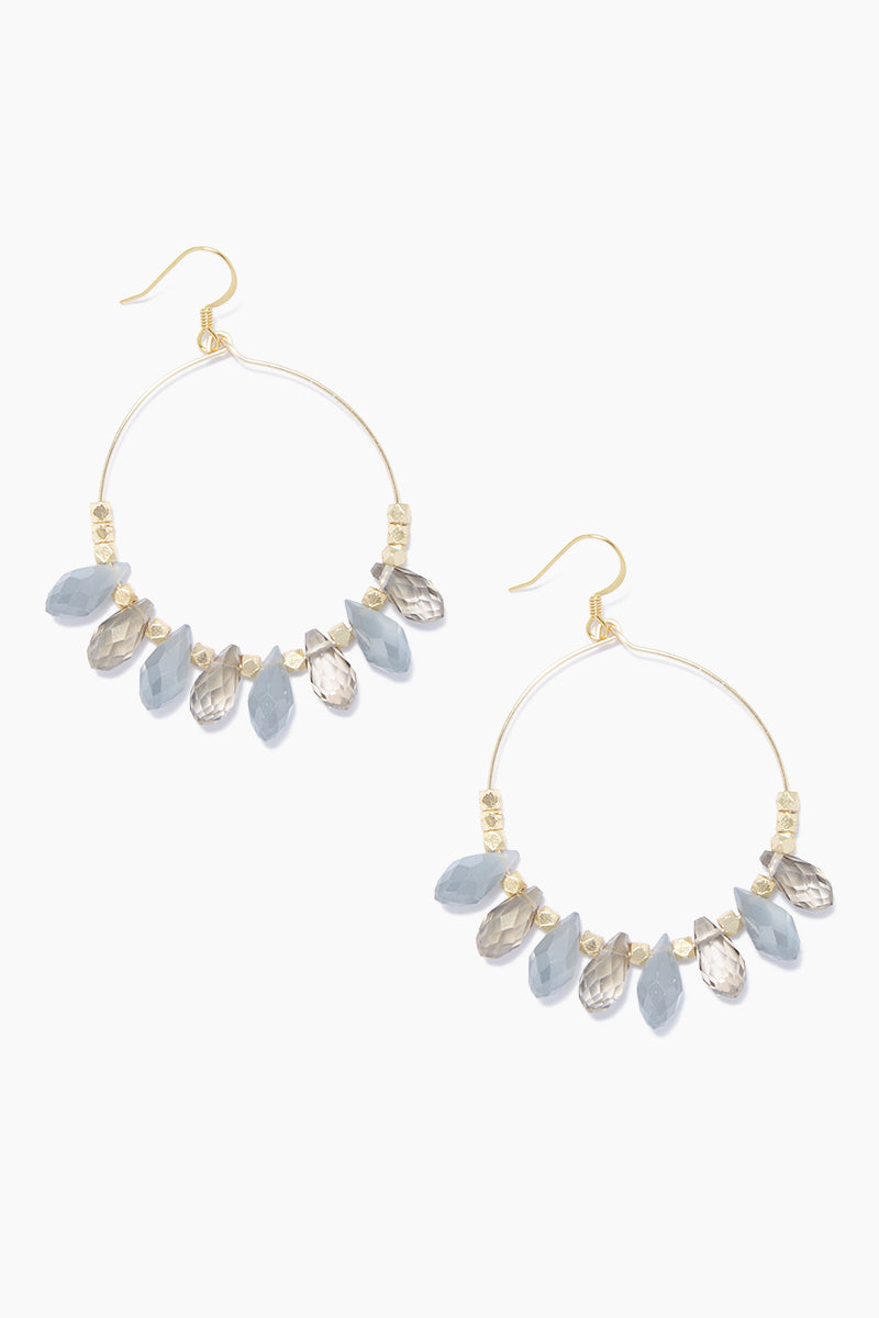"GEMELLI JEWELRY Carson Earrings - Gray/Smoke Jewelry | Gray/Smoke| Gemelli Jewelry Carson Earrings - Gray/Smoke Gold plated 2"" hoops Gray quartz drops . Features:  Gold plated 2"" hoops quartz drops Front View"